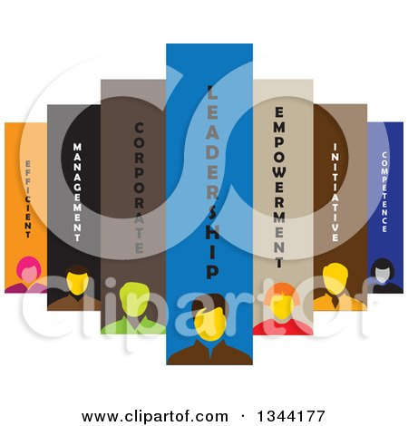 Clipart of a Team of Business Men and Women with Text - Royalty Free Vector Illustration by ColorMagic