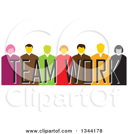 Clipart of a Group of Business Men and Women over Team Work Text - Royalty Free Vector Illustration by ColorMagic