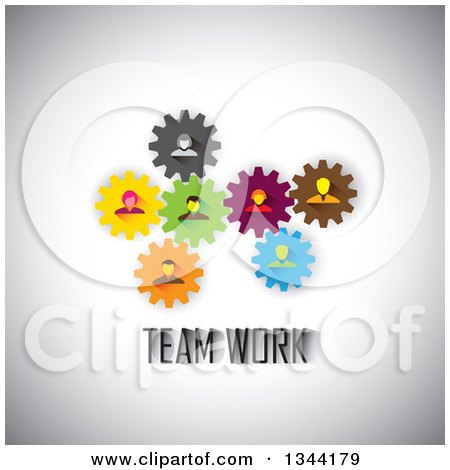 Clipart of Business Men and Women in Colorful Gears over Teamwork Text on Shading - Royalty Free Vector Illustration by ColorMagic