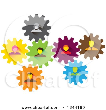 Clipart of a Team of Business Men and Women in Colorful Gears - Royalty Free Vector Illustration by ColorMagic