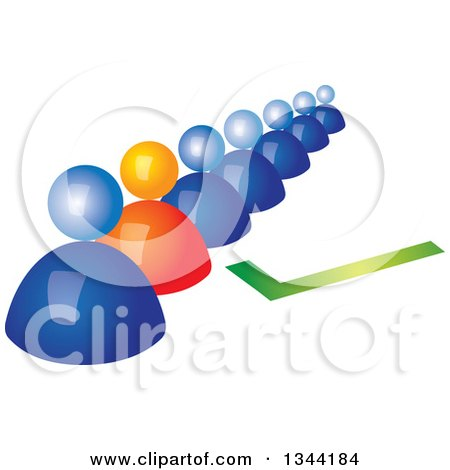 Clipart of a 3d Orange Man Standing out in a Line of Blue People, with a Green Check Mark - Royalty Free Vector Illustration by ColorMagic
