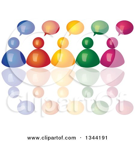 Clipart of a 3d Colorful Team of People with Speech Balloons and Reflections - Royalty Free Vector Illustration by ColorMagic