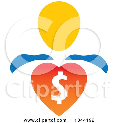 Clipart of a Super Hero Man with a Dollar Currency Heart - Royalty Free Vector Illustration by ColorMagic