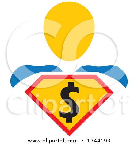Clipart of a Super Hero Man with a Dollar Currency Shield - Royalty Free Vector Illustration by ColorMagic
