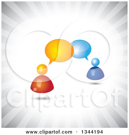 Clipart of 3d Orange and Blue People Talking over Gray Rays - Royalty Free Vector Illustration by ColorMagic