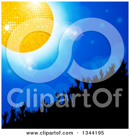 Clipart of a Silhouetted Crowd Dancing Under a Gold Disco Ball on Blue with Flares - Royalty Free Vector Illustration by elaineitalia