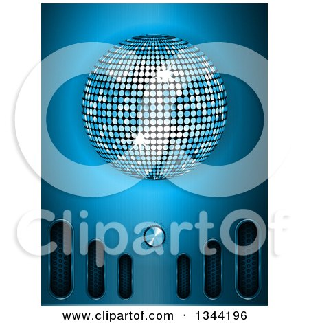 Clipart of a 3d Disco Ball over Blue with Metallic Vents and a Volume Knob - Royalty Free Vector Illustration by elaineitalia