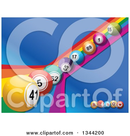 Clipart of a Row of 3d Colorful Bingo Balls Rolling down a Rainbow over Blue with Letter Balls - Royalty Free Vector Illustration by elaineitalia