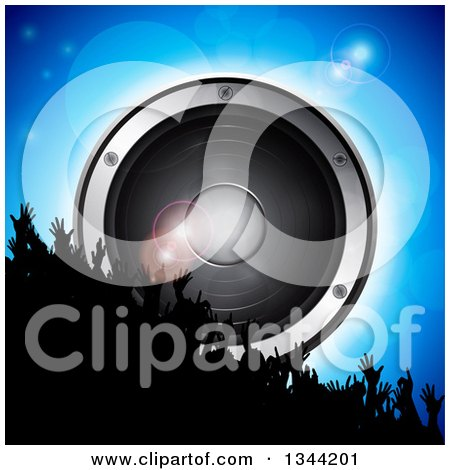 Clipart of a 3d Silhouetted Dancing Crowd Raising Their Arms over a Giant Music Speaker on Blue with Flares - Royalty Free Vector Illustration by elaineitalia