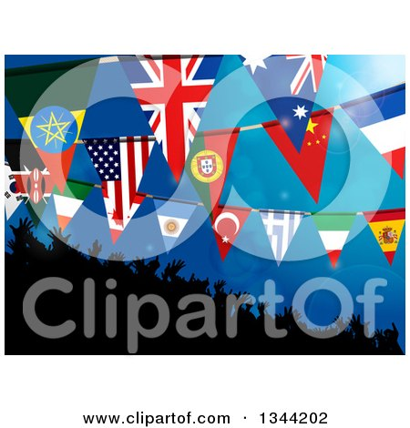 Clipart of a 3d Silhouetted Dancing Crowd Under Flag Buntings on Blue - Royalty Free Vector Illustration by elaineitalia