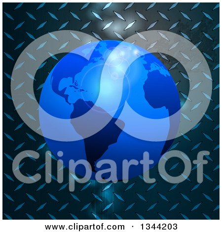 Clipart of a 3d Blue Earth Globe over Diamond Plate Metal with Flares - Royalty Free Vector Illustration by elaineitalia