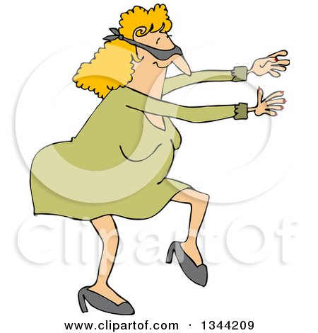 Cartoon Chubby Blindfolded White Woman Walking and Holding Her Arms out Posters, Art Prints