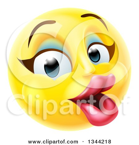 Clipart of a 3d Pretty Female Yellow Smiley Emoji Emoticon Face with Makeup - Royalty Free Vector Illustration by AtStockIllustration