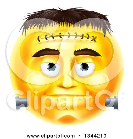 3d Yellow Frankenstein Smiley Emoji Emoticon Face Posters, Art Prints