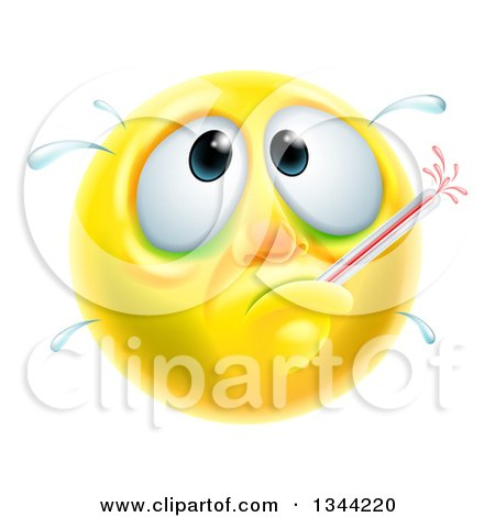 Clipart of a 3d Yellow Smiley Emoji Emoticon Face Sick with a Fever and Thermometer - Royalty Free Vector Illustration by AtStockIllustration