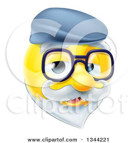 Clipart of a 3d Senior Grandpa Yellow Smiley Emoji Emoticon Face Wearing Glasses and a Hat - Royalty Free Vector Illustration by AtStockIllustration