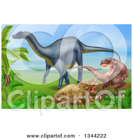 Clipart of a Diplodocus Dinosaur by a T Rex and Triceratops in a Fight - Royalty Free Vector Illustration by AtStockIllustration