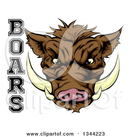 Clipart of a Cartoon Aggressive Brown Boar Mascot Head with Text - Royalty Free Vector Illustration by AtStockIllustration