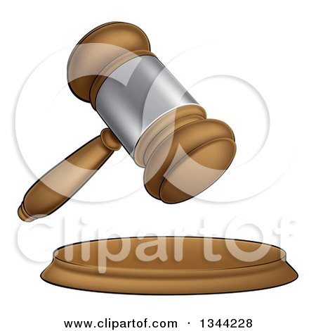 Clipart of a Cartoon Wooden and Silver Judge or Auction Gavel - Royalty Free Vector Illustration by AtStockIllustration