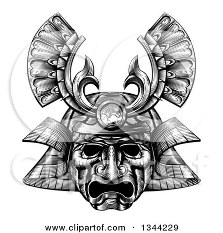 Clipart of a Black and White Woodblock Styled Samurai Mask - Royalty Free Vector Illustration by AtStockIllustration