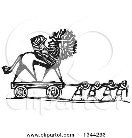Clipart of Black and White Woodcut People Pulling a Chimera Statue - Royalty Free Vector Illustration by xunantunich