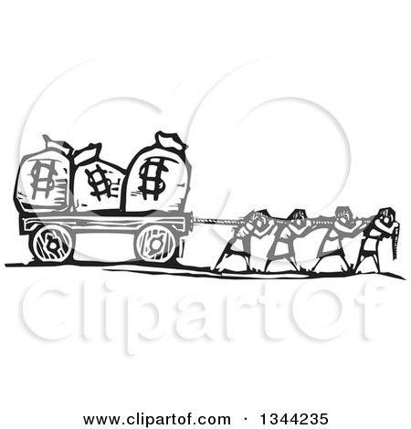 Clipart of Black and White Woodcut People Pulling Money Bags with Dollar Currency Symbols - Royalty Free Vector Illustration by xunantunich