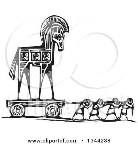 Clipart of a Black and White Woodcut of People Pulling the Trojan Horse - Royalty Free Vector Illustration by xunantunich