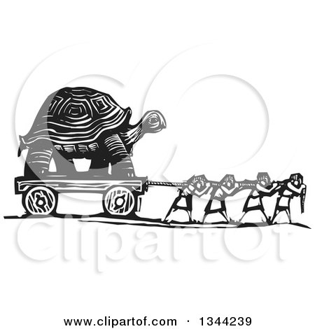 Clipart of Black and White Woodcut People Pulling a Giant Tortoise - Royalty Free Vector Illustration by xunantunich