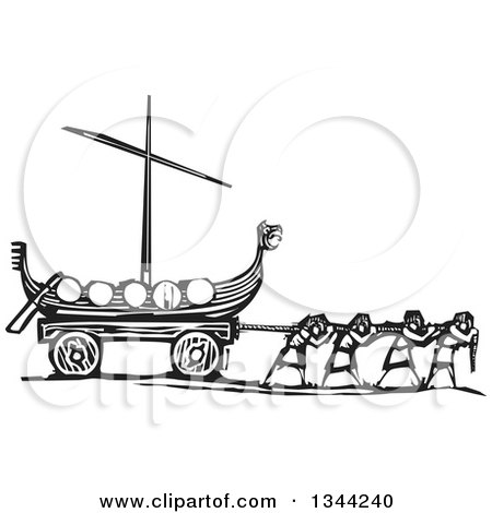 Clipart of Black and White Woodcut People Pulling a Viking Dragon Ship - Royalty Free Vector Illustration by xunantunich
