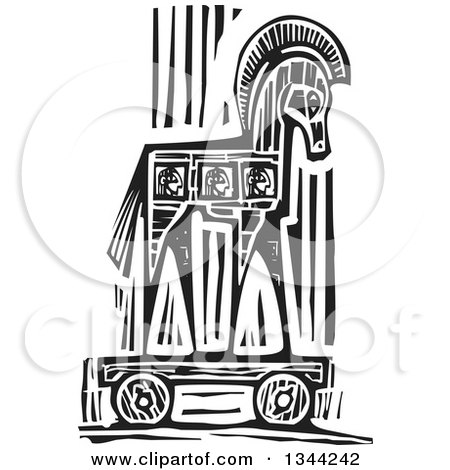 Clipart of a Black and White Woodcut Greek Trojan Horse - Royalty Free Vector Illustration by xunantunich