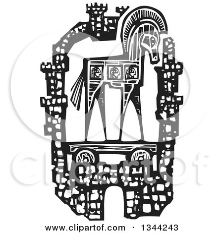 Clipart of a Black and White Woodcut Greek Trojan Horse Within the Walls of the City of Troy - Royalty Free Vector Illustration by xunantunich
