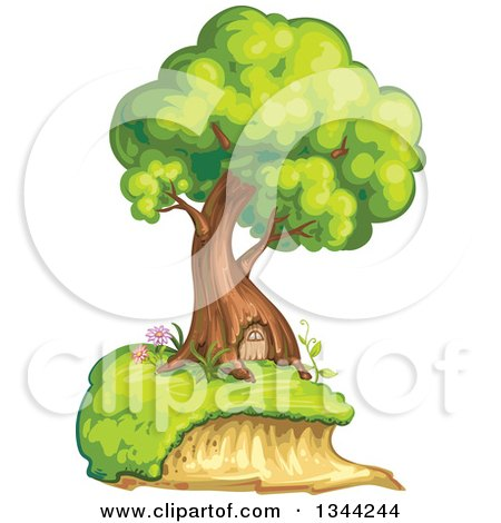 Clipart of a Mature Tree Home with a Door - Royalty Free Vector Illustration by merlinul