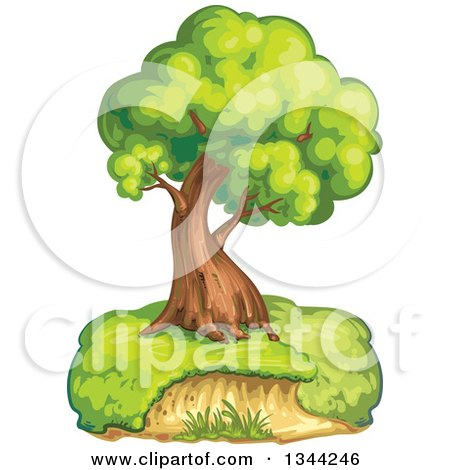 Clipart of a Mature Tree on a Hill - Royalty Free Vector Illustration by merlinul