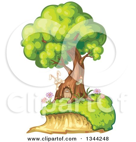 Clipart of a Rabbit by a Tree Home with a Door - Royalty Free Vector Illustration by merlinul