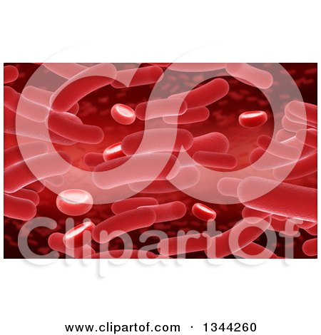 Clipart of a Background of Red 3d Virus and Blood Cells - Royalty Free Illustration by KJ Pargeter
