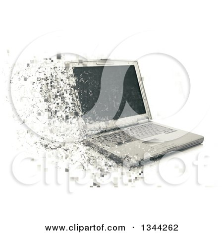Clipart of a 3d Pixelating Laptop Computer over White - Royalty Free Illustration by KJ Pargeter