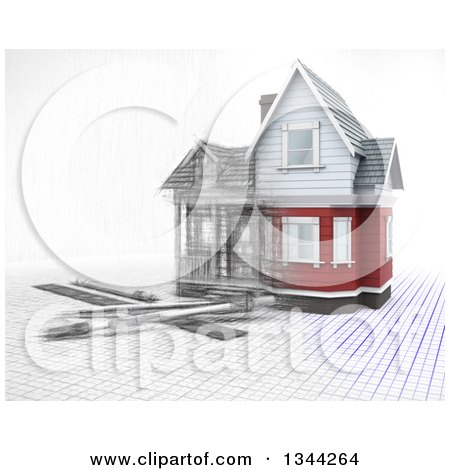 Clipart of a Half 3d, Half Sketched Custom Home with Drafting Tools on Blueprints, over White 2 - Royalty Free Illustration by KJ Pargeter