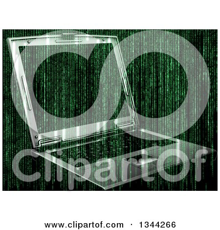Clipart of a 3d Laptop Computer and Green Binary Coding - Royalty Free Illustration by KJ Pargeter
