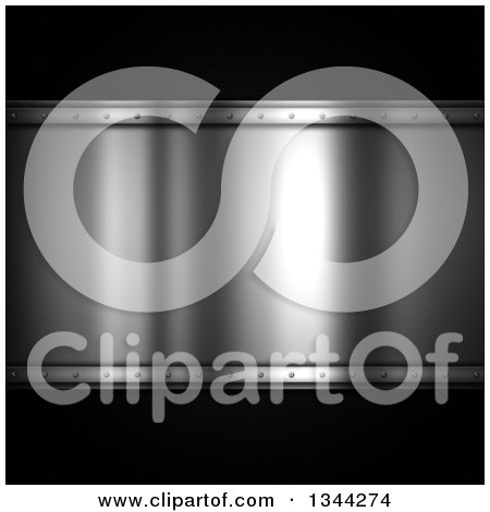 Clipart of a Shiny Metal Plaque over Carbon Fiber - Royalty Free Illustration by KJ Pargeter