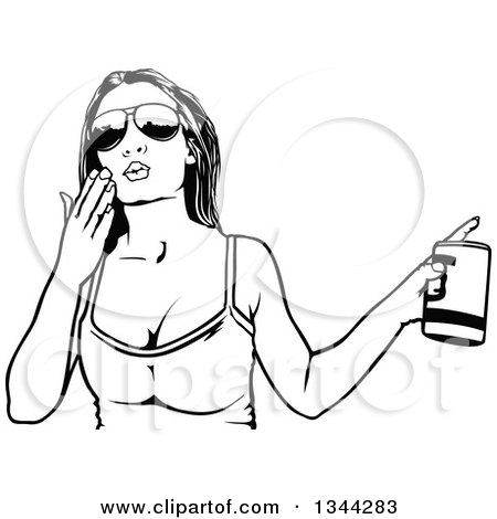 Black and White Party Woman Blowing a Kiss and Holding a Beverage Posters, Art Prints