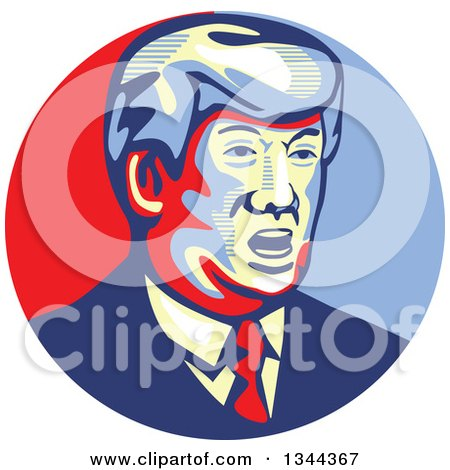 Clipart of a Donald Trump Stencil Portrait - Royalty Free Vector Illustration by patrimonio