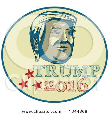 Clipart of a Donald Trump 2016 Presidential Nominee Design - Royalty Free Vector Illustration by patrimonio