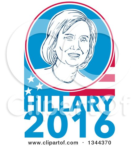 Clipart of a Retro Portrait of Hillary Clinton in a Circle over a Partial American Flag and Text - Royalty Free Vector Illustration by patrimonio