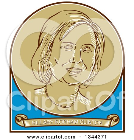 Clipart of a Retro Portrait of Hillary Clinton in a Circle over a Banner with Her Name - Royalty Free Vector Illustration by patrimonio