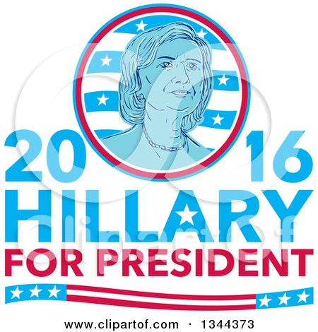 Clipart of a Retro Portrait of Hillary Clinton in a Circle over Text - Royalty Free Vector Illustration by patrimonio