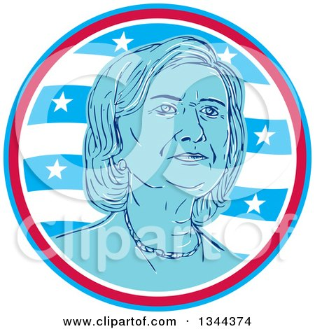 Clipart of a Portrait of Hillary Clinton in a Circle of Waves and Stars - Royalty Free Vector Illustration by patrimonio