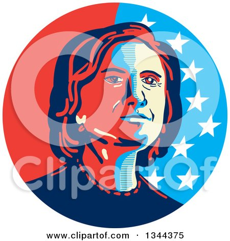 Clipart of a Hillary Clinton Stencil Portrait - Royalty Free Vector Illustration by patrimonio