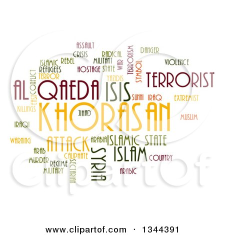 Clipart of an ISIS and Al Qaeda Word Collage over White 2 - Royalty Free Illustration by oboy