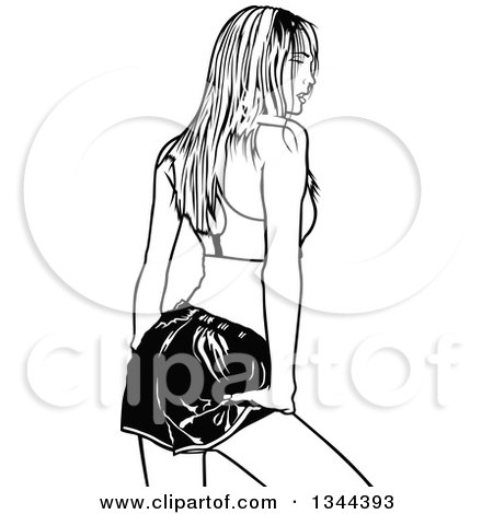 Clipart of a Rear View of a Black and White Woman Posing in Shorts and a Sports Bra - Royalty Free Vector Illustration by dero