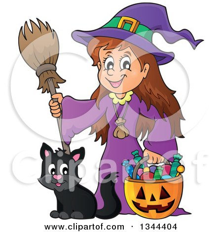 Clipart of a Cartoon Happy Witch Girl with a Jackolantern Pumpkin of Halloween Candy and a Black Cat - Royalty Free Vector Illustration by visekart